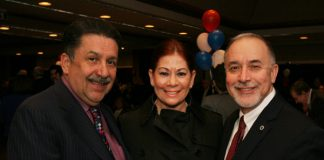 Antonio Cruz, Esq., Yvonne López, and Samuel Delgado at Middlesex County Freeholders meeting in Middlesex County College.
