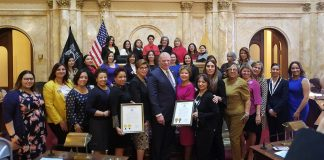 LUPE members at the State House Senate Chamber with Senate President, Steve M. Sweeney.