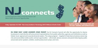 We are excited about having you join us at NJ Connects on September 20, 2019, at the New Jersey Institute of Technology (NJIT) in Newark. Click here for new updates about sessions and speakers so that you can prepare to get the most out of your attendance. Feel free to share this information with your professional network or any small, woman, veteran, and LGBTQ business owners you know. Let's get the word out about this important event! If you have any questions, please email us at NJConnects@EastWestConnection.com. When: Friday, September 20, 2019 Add to calendar 8:00 a.m. - 4:30 p.m.* *Networking reception to follow Where: New Jersey Institute of Technology (NJIT) Wellness & Events Center 104 Lock Street Newark, NJ 07102