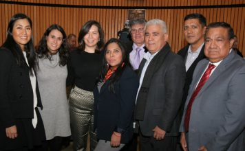 Nayeli Salazar, Board of Education commissioner Ray Carrera, Teresa Vivar and other Mexican American community activists.