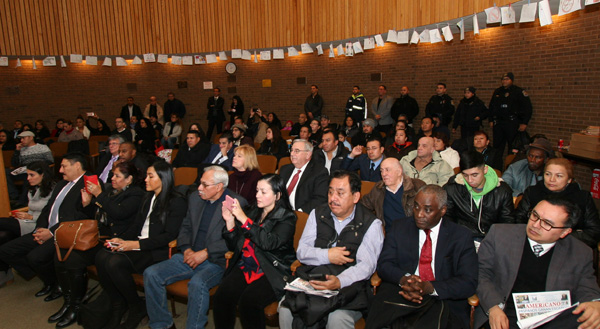 Public during Cesar Aguirre swearing in as Deputy Mayor in the City of Passaic.