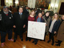 Minister Lee Ingram, Paul Perez, Grace Fernandez, Elmer Sandoval, Maria Juega, Glendi Quijada and J. Ocasio at Trenton Council chamber.
