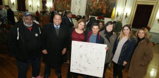 Minister Lee Ingram, Paul Perez, Grace Fernandez, Elmer Sandoval, Maria Juega, Glendi Quijada and J. Ocasio at Trenton Council chamber.