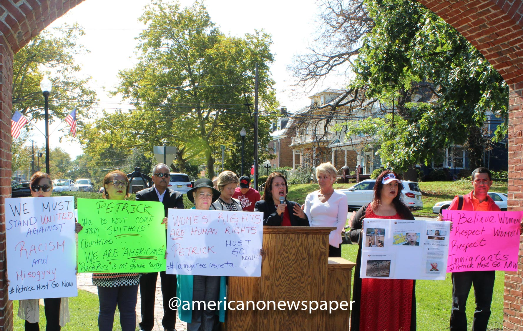 Protest #1 in front of Perth Amboy City Hall, October 3
