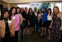 Mylene Colom, of Blue Cross Blue Shield joined the Statewide Hispanic Chamber of Commerce led by Chairman Carlos Medina and other business executives.