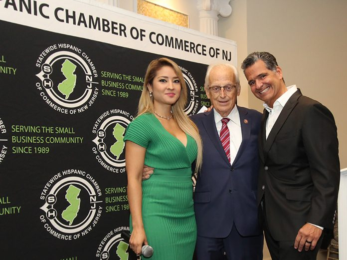 Vicky Llerena, US Congressman Bill Pascrell Jr., and Carlos Medina, President of the NJ Statewide HIspanic Chamber of Commerce.