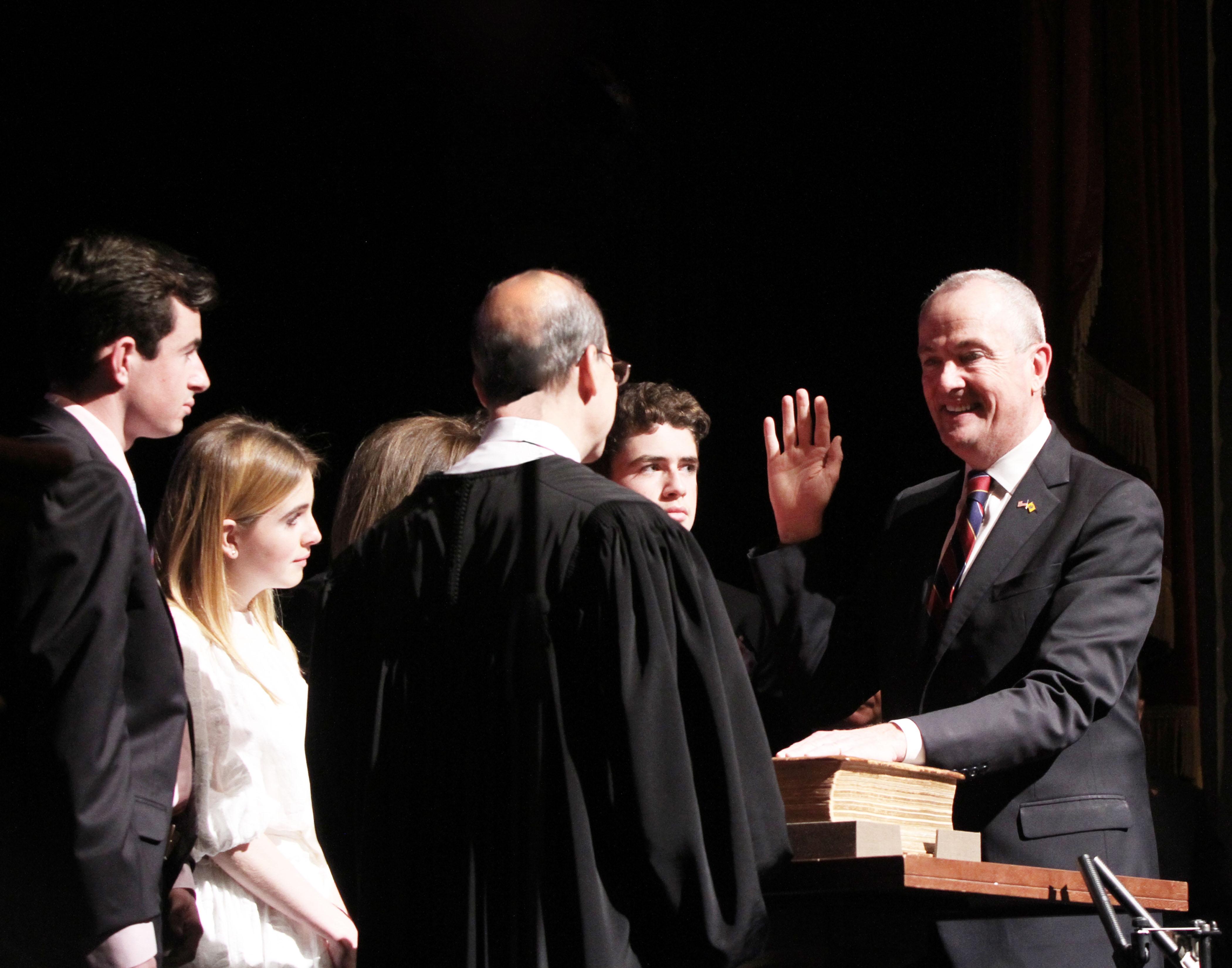 New Jersey Governor, Phil D. Murphy being sworn in on January 16, 2018.