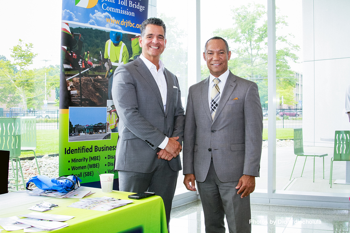 Shccnj Chairman Carlos Medina and another businessman at the Diversity Expo & Breakfast event at Kean University in Elizabeth, New Jersey.