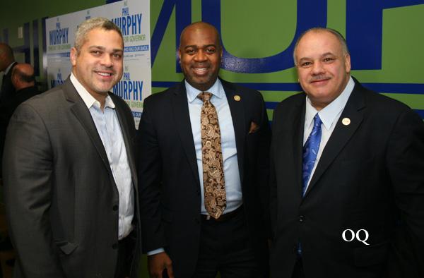 Councilman Anibal Ramos Jr., Newark's Mayor Ras J. Baraka, and Councilman-at-large, Luis A. Quintana.