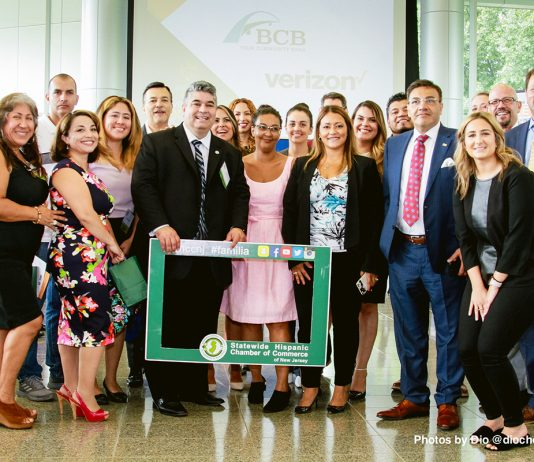 Statewide Hispanic Chamber of Commerce Vicepresident, Luis DelaHoz, poses with entrepreneurs in attendance at the Diversity Expo at Kean University earlier this month.
