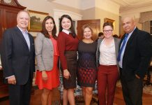 Photo by @Diocholula Princeton, Garden State. L-r: Bob Medina, Amanda Medina-Forrester, Maria Del Cid, Dr. Patricia Campos Medina, Julia Fahl, Lambertville's Mayor, and Oscar Alberto Quintana AMERICANO's publisher during the Hispanic Heritage Celebration hosted by NJ Gov. Phil D, Murphy and First Lady, Tammy Murphy at Drumthwacket, their official mansion-residence.