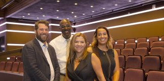 All photos by the Middlesex County Office of Communication. The New Brunswick Performing Arts Center management team (from left to right) production coordinator Christopher J. Bailey; director of operations Mark Sharp; executive director Merissa Buczny; and house manager Elyse Washington.